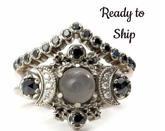 Ready to Ship Size 6 - 8 Cosmos Gray Moonstone Engagement Ring Set - Black & White Diamonds Boho 14k Gold Stacking Wedding Rings
