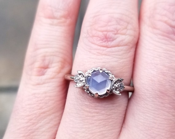 Blue Chalcedony and Diamond Triple Moon Engagement Ring - Lunar Fine Jewelry