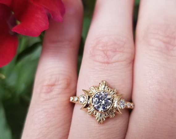 Ready to Ship Size 5.5 - 7.5 - Moissanite & Diamond Moon Fire Celestial Engagement Ring - 14k Yellow Gold