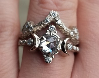 Rose Cut Moissanite Compass Moon Engagement Ring Set with Mossy Knoll Wedding Band- Galaxy Inspired Jewelry