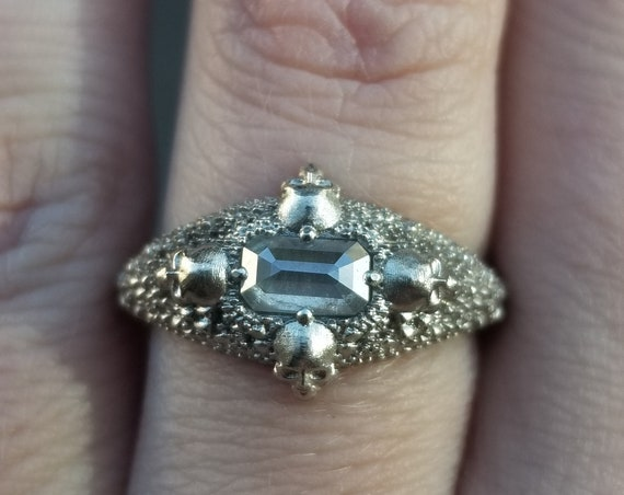 Ready to Ship Size 6 - 8 - HAUNTED 4 Skull Diamond Solitaire - 14k Palladium White Gold