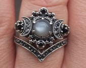 Grey Moonstone Silver Cosmos Moon Engagement Ring Set - Bohemian Stacking Wedding Rings