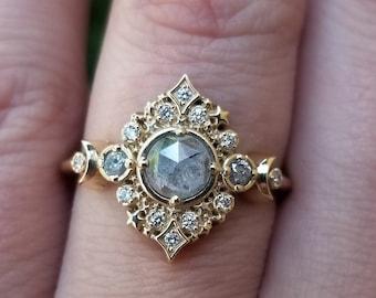 Galaxie Lunar Engagement Ring - 14k Gold - Pick your Salt & Pepper Diamond - Boho Moon Wedding Ring