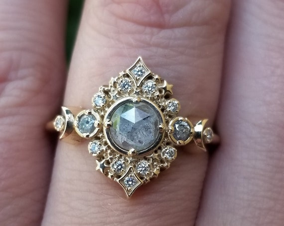 Galaxie Lunar Engagement Ring - 14k Gold - Pick your Salt & Pepper Diamond - Boho Moon Wedding Ring