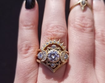 Cosmos Moon Ring Set Unique Engagement Rings- Moissanite or Diamonds Gold Wedding Rings