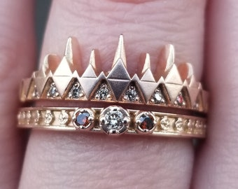 Rose Gold Engagement Ring Set - Champagne Diamond Moon Phase Band and Ravenna Crown Ring - Gothic Engagement