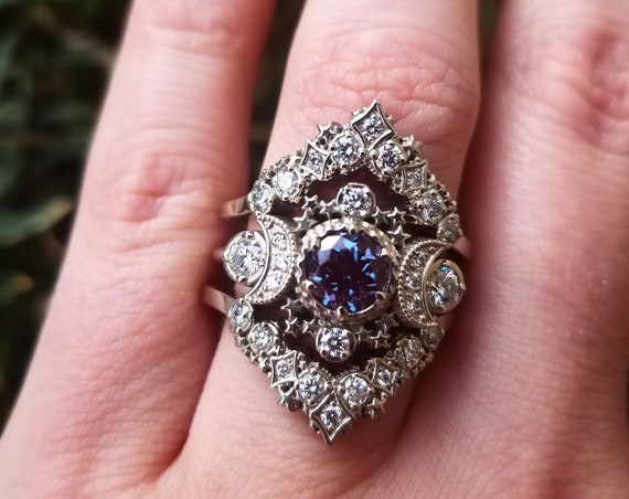 Cosmos Lunar Engagement Ring Set - Chatham Alexandrite & Diamonds Moon and Stars Wedding Set