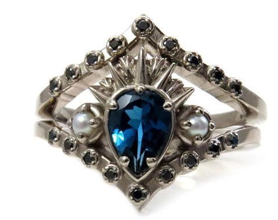 Sea Witch Engagement Ring Set - Ursula - London Blue Topaz with Seed Pearls and Black Diamonds