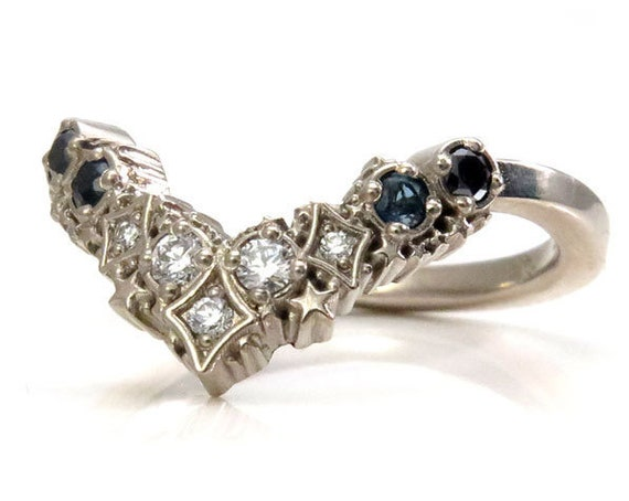 Ready to Ship Size 6 - 8 - Ombre Black & White Diamond with London BLue Topaz Stardust Chevron Wedding Band - 14k Palladium White Gold