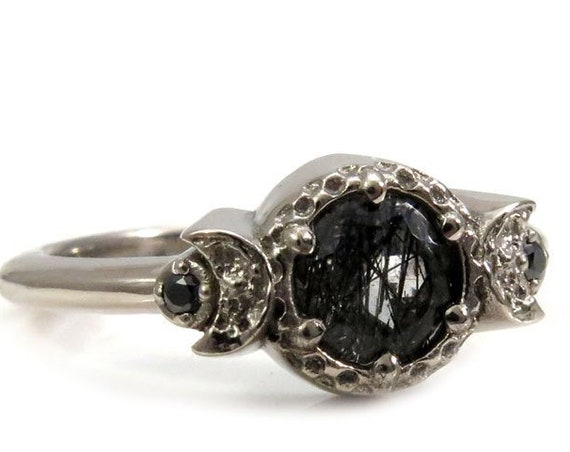 Moon Phase Engagement Ring with Rutile Quartz and Black Diamonds - 14k Palladium White Gold Gothic Jewelry