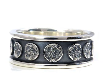 Moon Phase Sterling Silver Band - Lunar Mens Engagement Ring