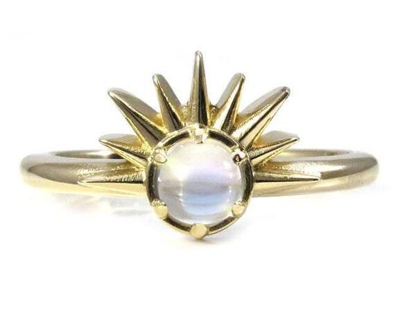 Moonstone Sunrise Ring - 14k Yellow Gold Nature Engagement Ring