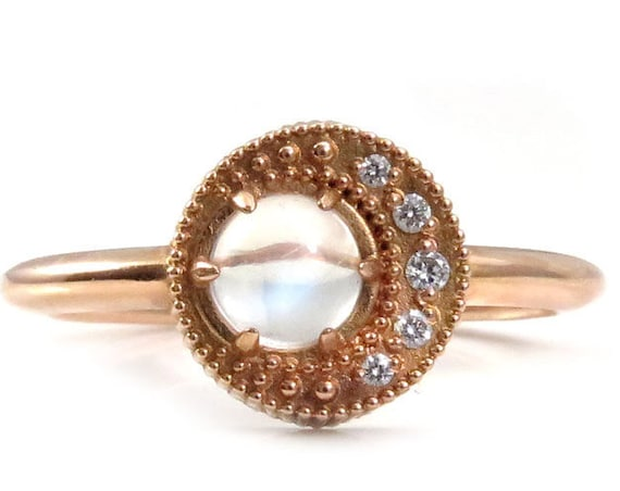 Ready to Ship Size 6-8 - Mini Moon Ring - Moonstone with a Diamond Crescent Moon - Delicate Rose Gold Engagement Ring