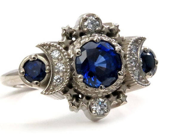 Chatham Sapphire Cosmos Triple Moon Engagement Ring - 14k Gold and Diamonds