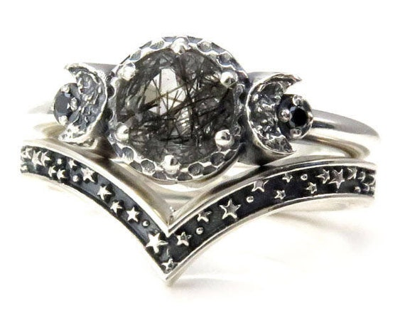 Tourmalated Quartz Moon and Stars Silver Engagement Ring Set with Black Diamonds