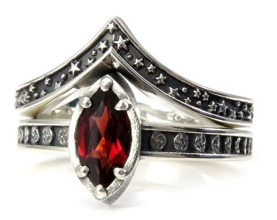 LAST ONE - Size 6 - 7.5 - Sterling Silver Garnet Moon and Stars Engagement Ring Set - Pick your Center Stone