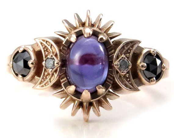 Oval Lab Alexandrite Frigg with Salt & Pepper and Black Diamonds - Engagement Ring with Crescent Moons and Split Shank