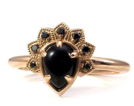 Black Lace Pear and Black Diamond Modern Crown Ring - Rose, Yellow or White Gold Engagement Ring