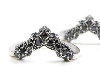 Black Diamond Stardust Chevron Wedding Band - Sterling Silver Boho Stacking Ring