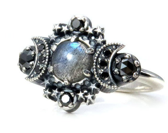 Labradorite Cosmos Moon and Star Ring - Sterling Silver with Black Diamonds
