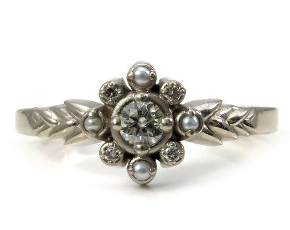 Light Champagne Diamond Engagement Ring - Sweetgrass Botanical Jewelry with Grey Seed Pearls