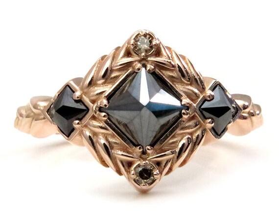 Reverse Set Black Princess Diamond Engagement Ring - Sweetgrass Botanical Collection