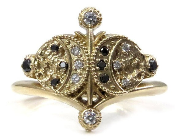 Ritual Moon Ring No. 2 - Boho Moon Engagement Ring with Black and White Diamonds