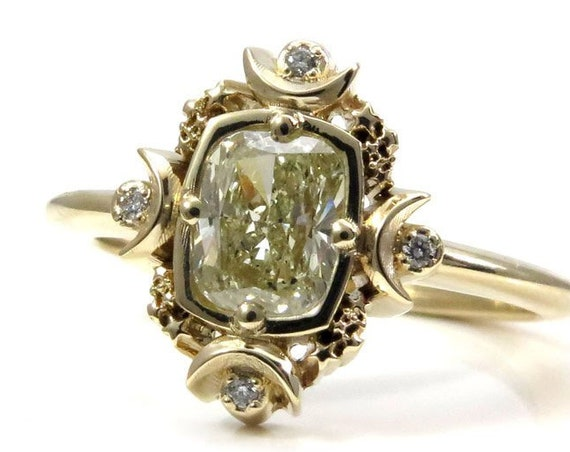 Artemis Moon Engagement Ring Set - Natural Yellow Cushion Diamond with Double Sunray Bands