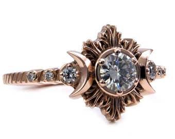Diamond Moon Fire Boho Engagement Ring - 14k Rose Gold Moon Phase Wedding Ring