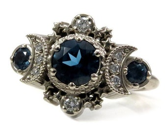 London Blue Topaz and Diamond Cosmos Engagement Ring - Triple Moon Goddess White Gold Jewelry