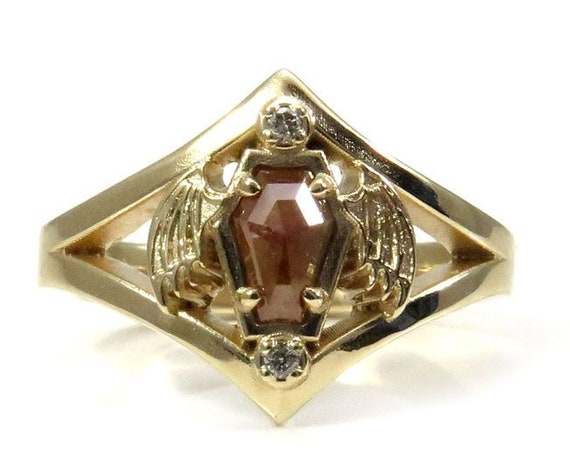 Coffin Diamond Bat Wing Midi - 14k Gold Black Rose Cut Coffin Diamond with Double Chevrons - Gothic Fine Jewelry