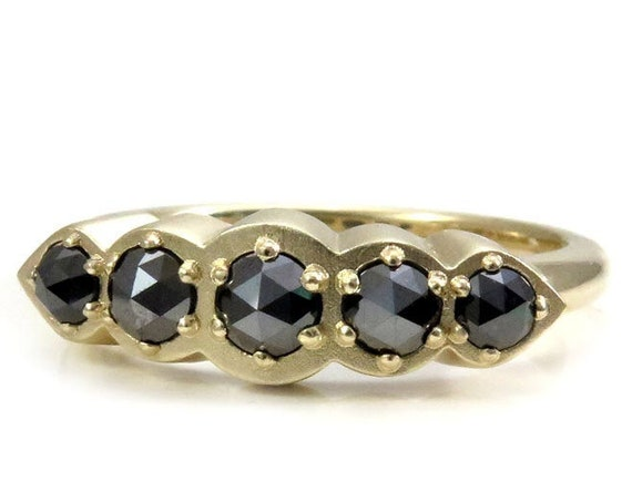 Modern Art Deco 5 Diamond Ring - Rose Cut Black Diamonds in Sandblasted Yellow Gold