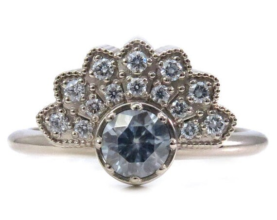 Gold Lace Fan Ring - Grey Moissanite and Diamonds - Modern Art Deco Engagement Ring