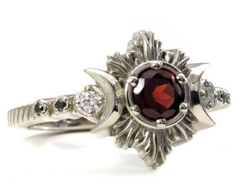 Red Garnet Moonfire Engagement Ring - Gothic Blood Moon Ring