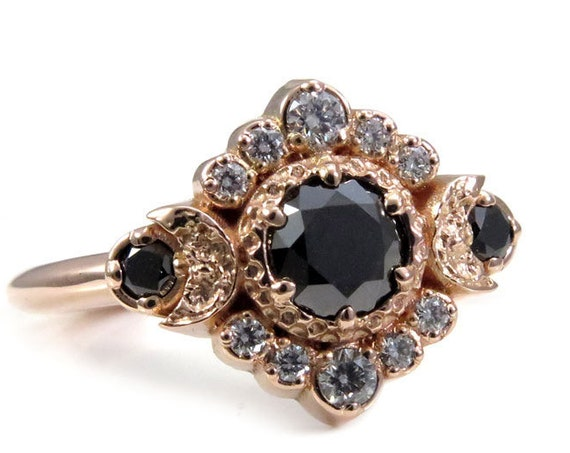 Black and White Diamond Moon Engagement Ring - Rose Gold Celestial Fine Jewelry