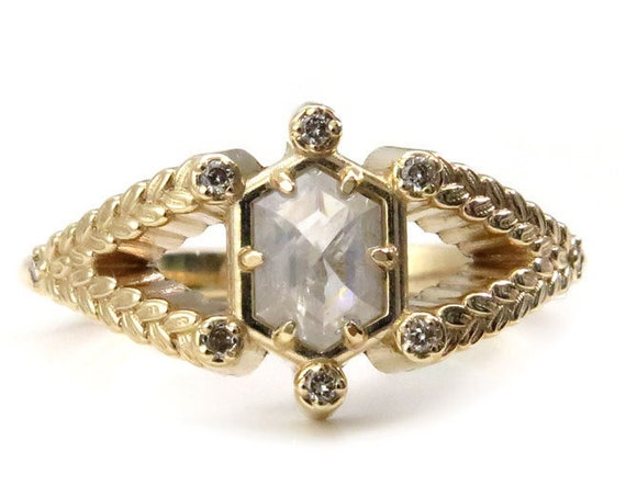 Hexagon Diamond Engagement Ring with Sage Leaf Split Shank and Honey Champagne Diamonds