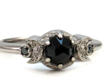 Gothic New Moon Engagement Ring with Rose Cut Black Spinel Or Rose Cut Black Diamond - White Gold