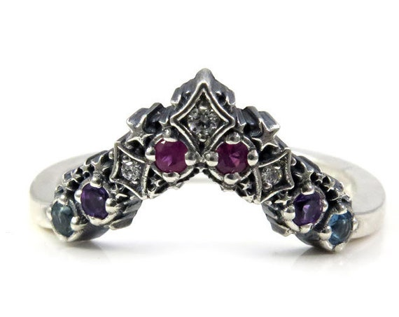 Nebula Silver Stardust Chevron Wedding Band - Boho Stacking Ring - Amethyst, Pink Sappire, Blue Topaz and Black or White Diamonds