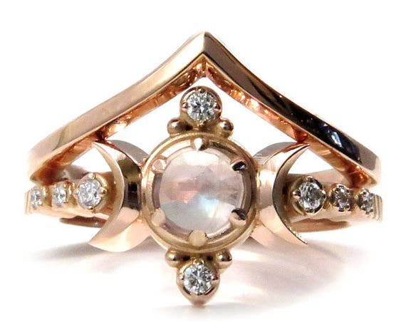 Moonstone and Rose Gold Moon Engagement Ring Set - Diamond Moon Ring with Chevron Wedding Band