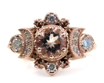 Morganite & Diamond Cosmos Moon Engagement Ring - Rose, Yellow or Palladium White Gold - Boho Jewelry