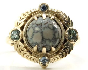 Ready to Ship Size 6 - 8 - Variscite Leaf Ring with Montana Sapphires - 14k Yellow Gold