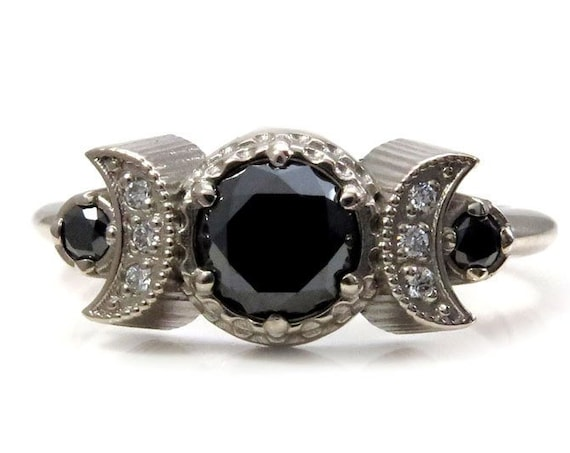 Hecate Moon Engagement Ring - Black and White Diamonds - 14k Palladium White Gold - Gothic Bohemain Jewelry
