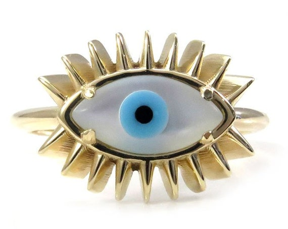 Evil Eye Midi Ring - Mother of Pearl and Turquoise Eye -14k Yellow, Rose or Palladium White Gold