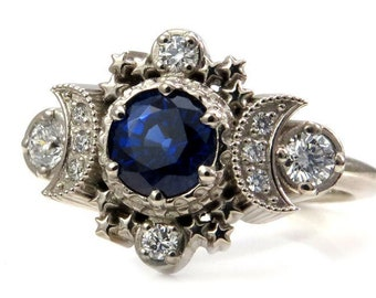 Chatham Sapphire Cosmos Moon Phase Engagement Ring - 14k Gold and Diamonds Celestial Jewelry