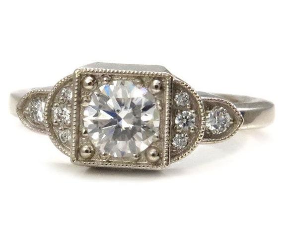 Art Deco Moissanite and Diamond Engagement Ring - 14k Palladium White Gold Diamond Vintage Styled Engagement Ring