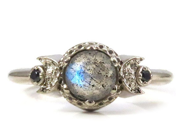 Moon Phase Engagement Ring with Labradorite and Black Diamonds - 14k Palladium White Gold Gothic Jewelry