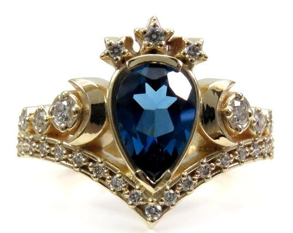 London Blue Topaz Lunar Priestess Diamond Engagement Ring with White Diamonds - Boho Wedding Ring