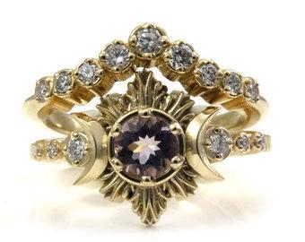 Morganite and Diamond Engagement Ring Set - Triple Moon Goddess Moon Fire Ring Set
