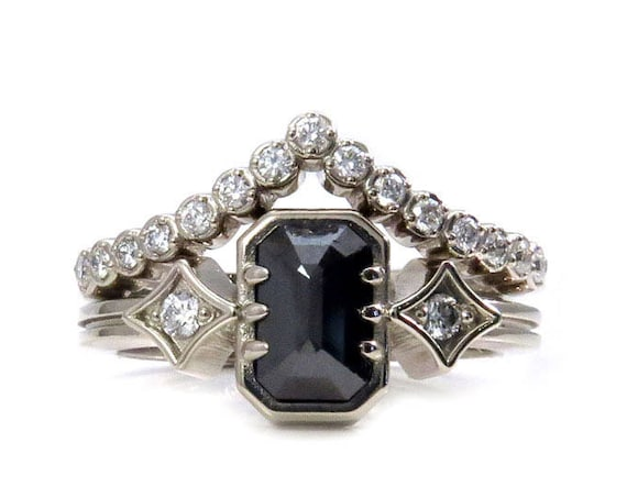 Geometric Black Diamond Engagement Ring with White Diamond Chevron Pave Wedding Band - White Gold Engagement Ring Set