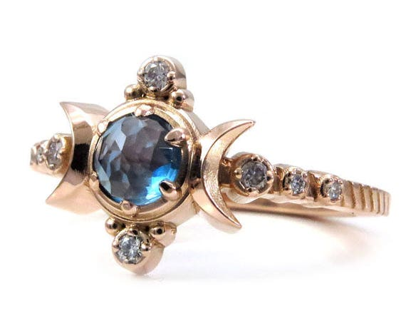 London Blue Topaz Compass Moon Engagement Ring - Moon Phase Boho Rose Gold Jewelry